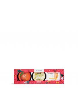 Zestaw prezentowy z masłami do ciała Mango, Mleko migdałowe i Miód oraz Moringa