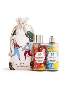 Zestaw prezentowy z mgiełkami do ciała i włosów Granat i Czerwone Jagody oraz Kokos i Yuzu